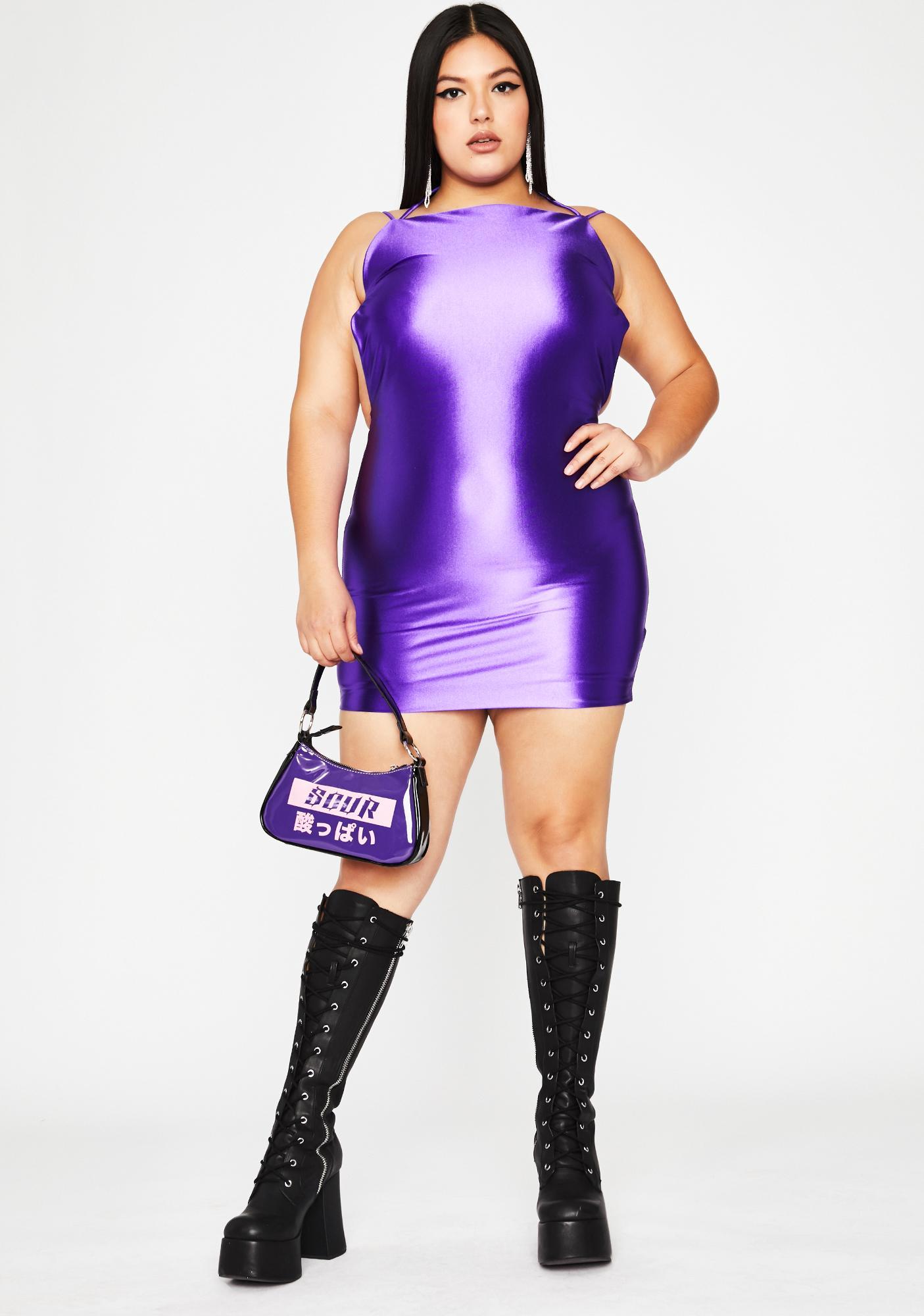 Grape Viral Status Satin Dress