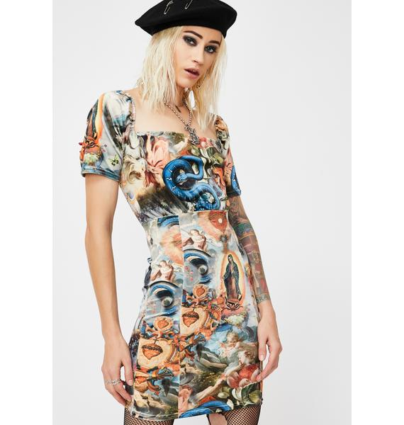 NEW GIRL ORDER Holy Print Velvet Mini Dress