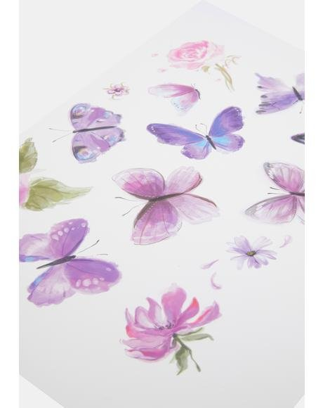 Purple Butterfly Temporary Tattoos