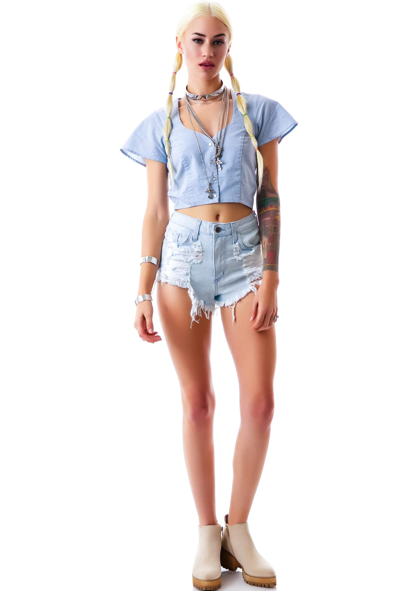 Lighten Up Destroyed Denim Shorts