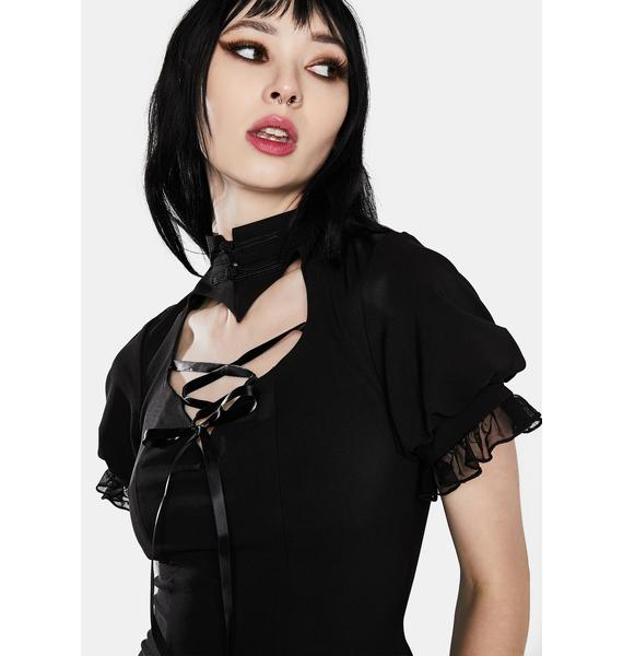 Dark In Love Gothic Lolita Hearted Lace Up Mini Dress
