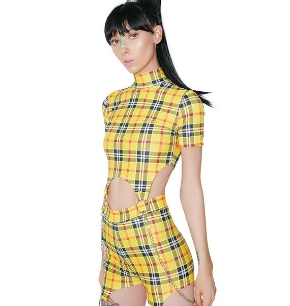 DEVOWEVO School Gurl Riot Garter Top