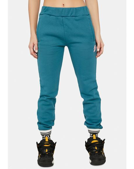 Puff Print Teal Joggers