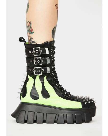 Spitfire Buckle Up Tight Platform Boots