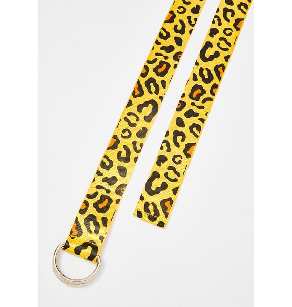 Petals and Peacocks Sunny Leopard Web Belt