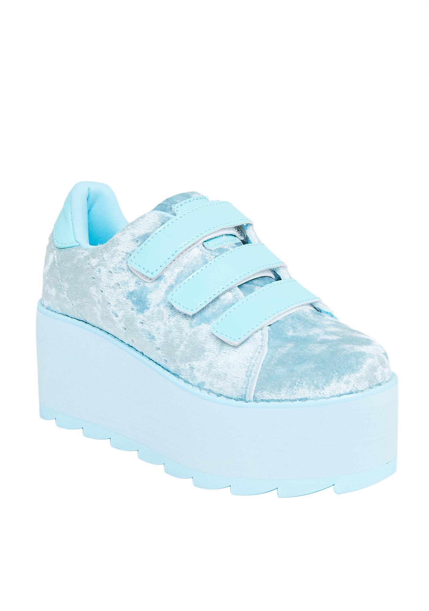 Y.R.U. Lala Velvet Velcro Platform Sneakers