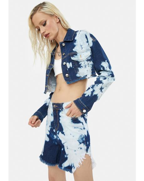 Get Inspired Tie Dye Cropped Jacket