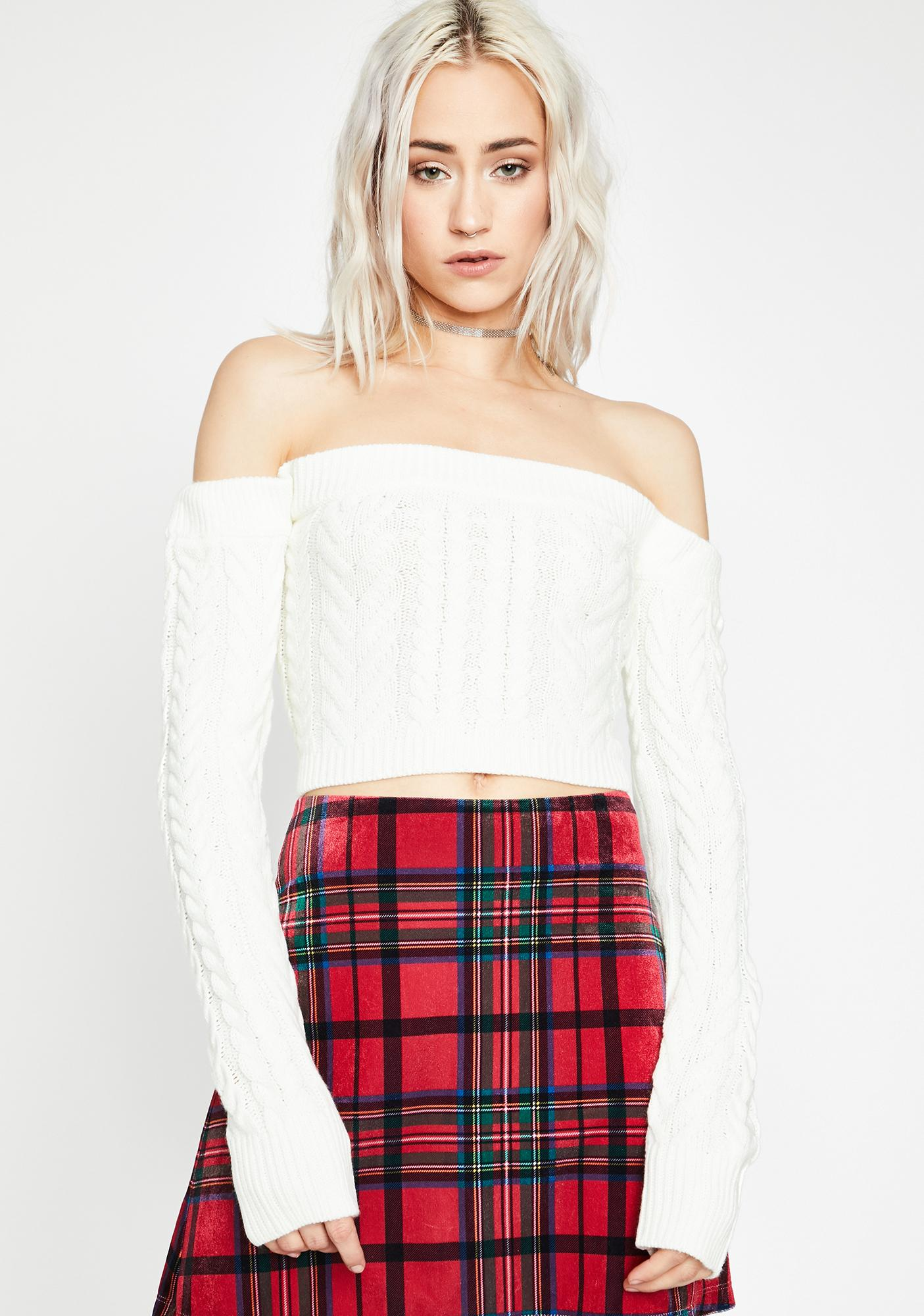 Blanc Takin' Cues Cable Knit Sweater