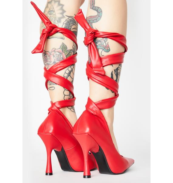 Cherry Throwing Shapes Lace Up Heels
