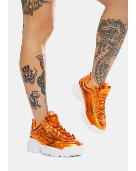Metallic Orange Disruptor II Spring Sneakers