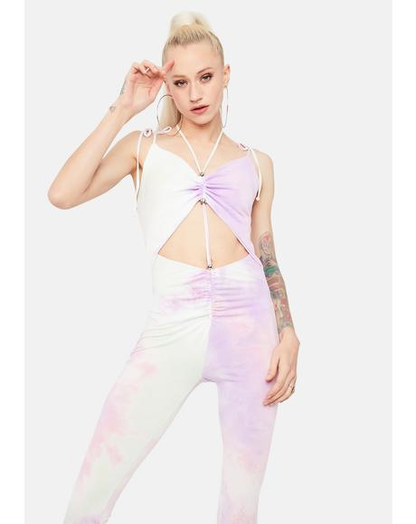 Turning Up The Volume Tie Dye Cutout Jumpsuit