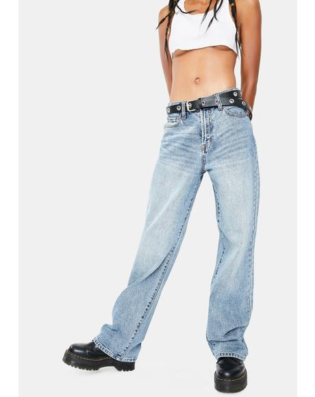 Medium Wash Classic Denim Dad Jeans