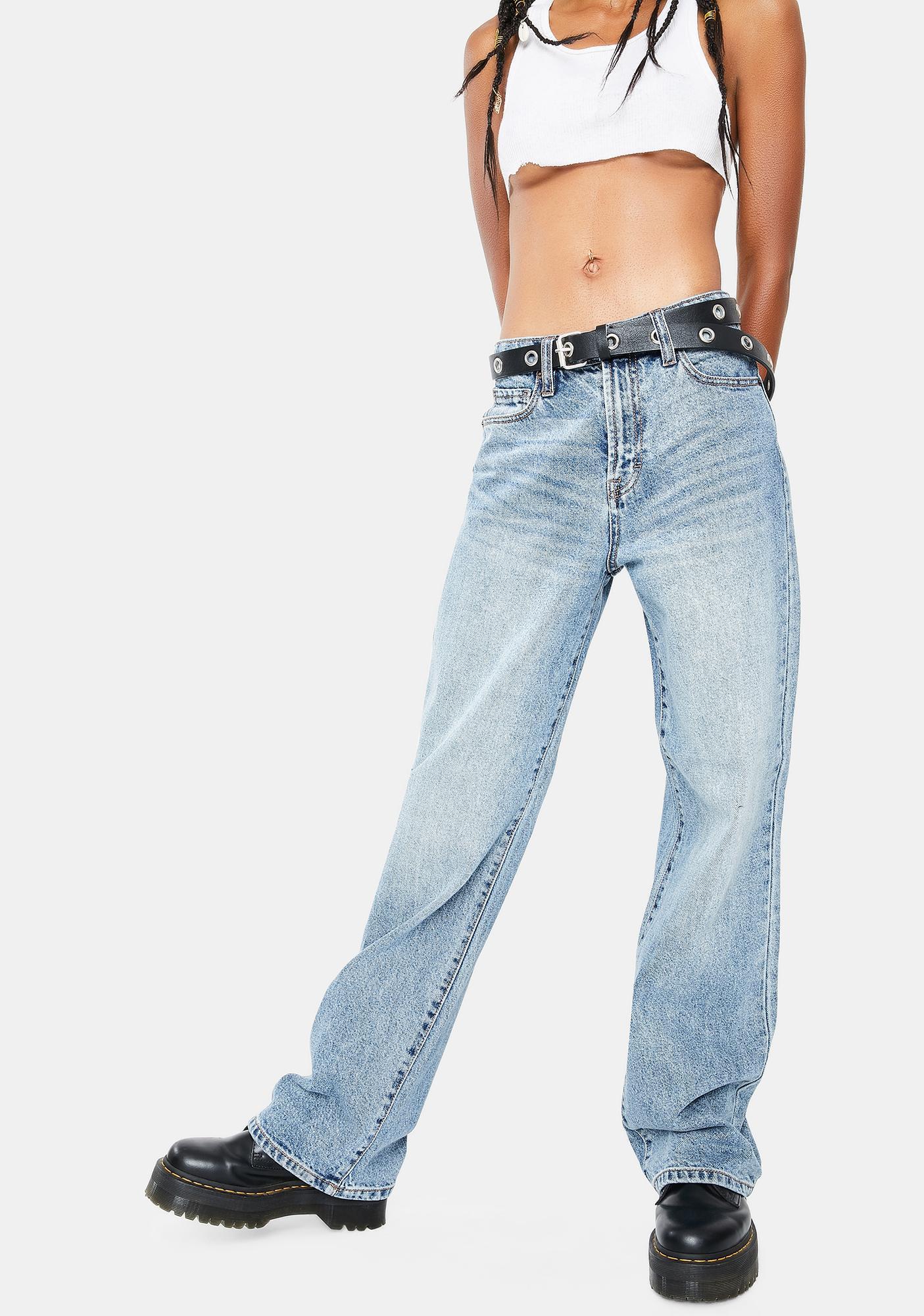 Hidden Denim Medium Wash Classic Denim Dad Jeans