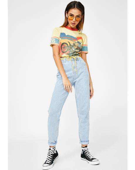 Bleach Wash Mom Jeans