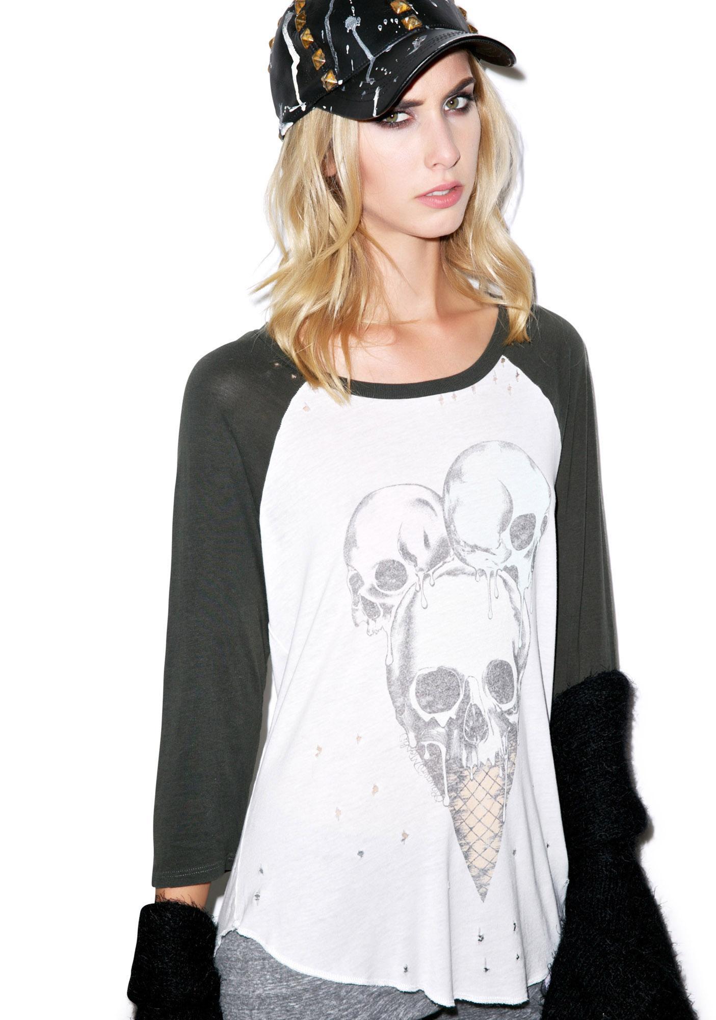 Lauren Moshi Maglan Color Skull Boyfriend Raglan