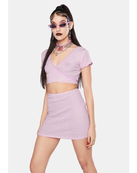 Pink Heart Cut Out Jersey Mini Skirt