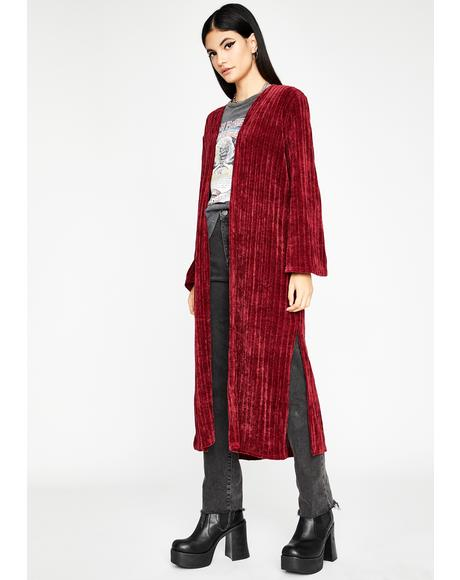 Wine Troubled Tempo Corduroy Duster