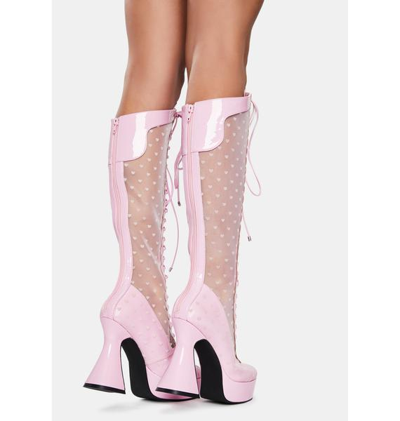 Sugar Thrillz Playing Cupid Lace Up Boots