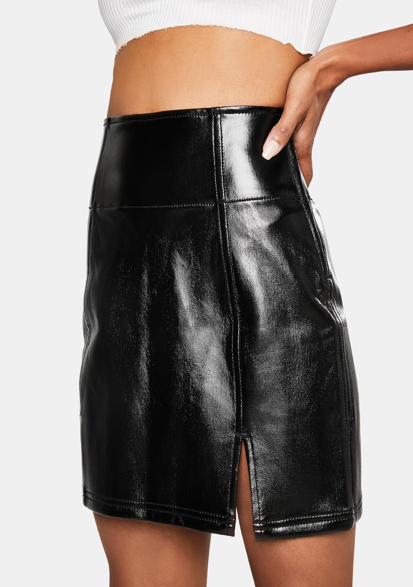 Free People Holding Onto A Dream Coated Denim Mini Skirt