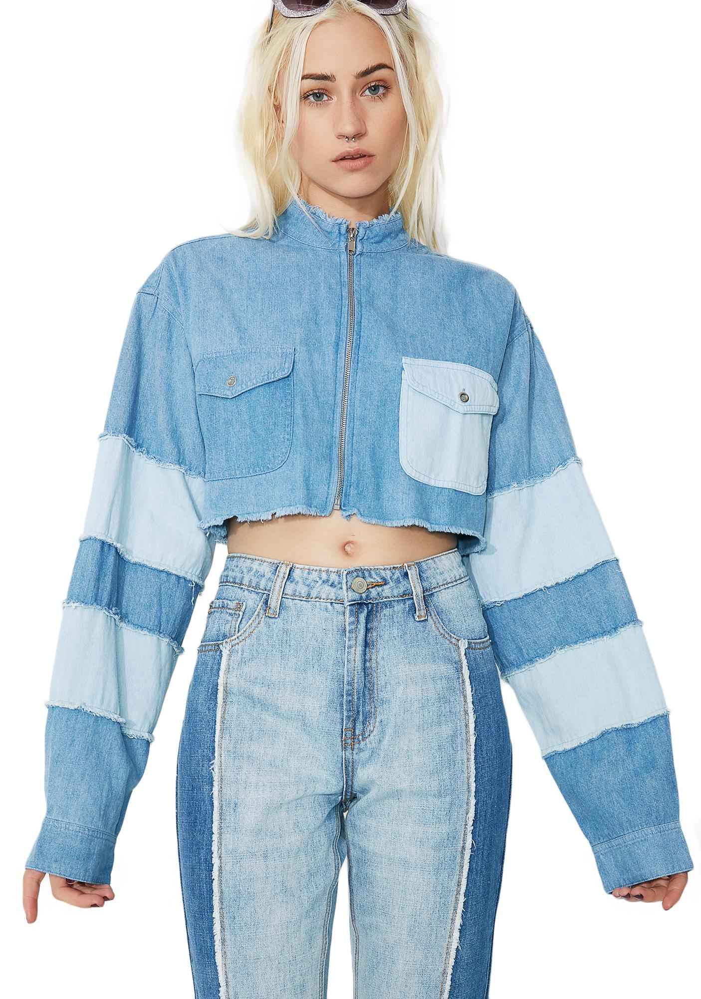 Paneled Crop Denim Blue Jacket