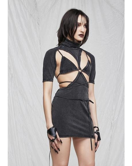 Synth Washed Cutout Bodycon Dress