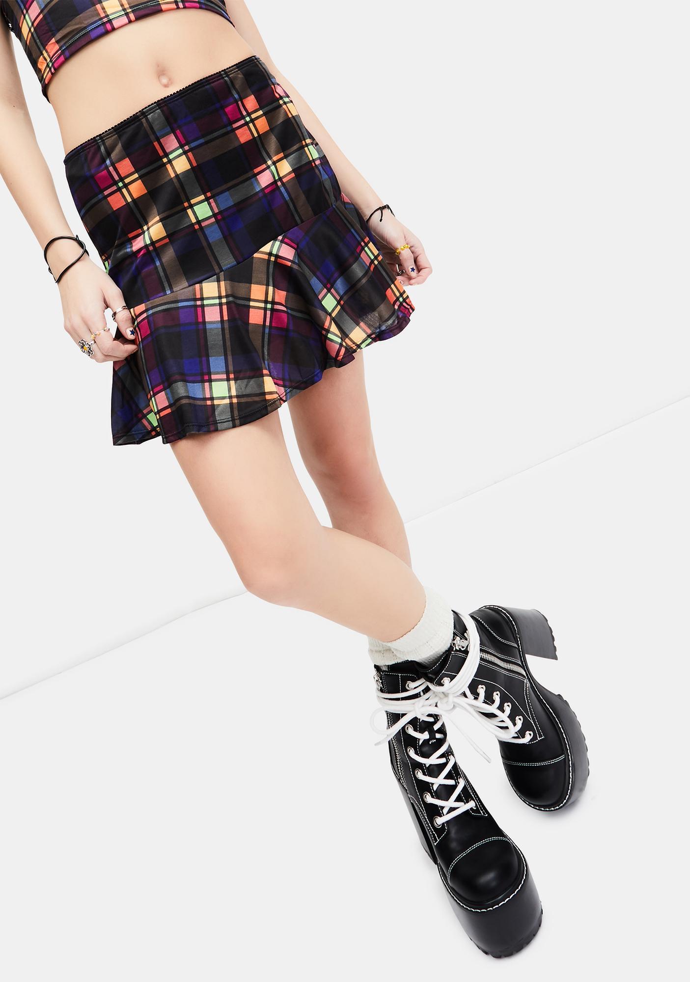 dELiA*s by Dolls Kill Running Wild Plaid Mini Skirt