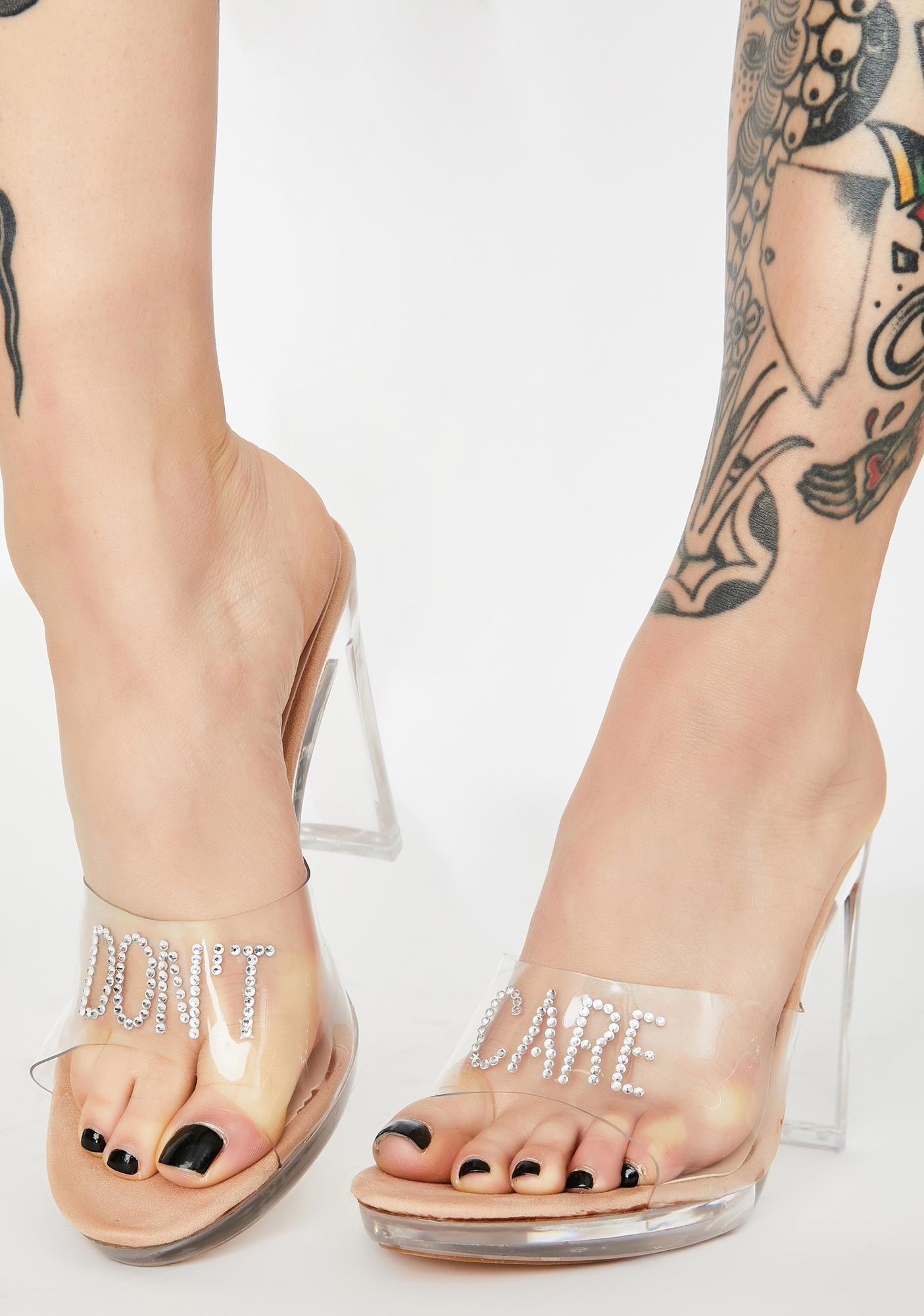 Public Desire Don't Care Clear Heels