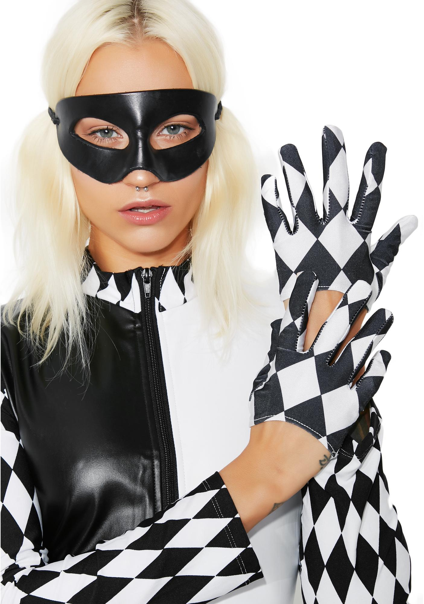 Harlequin Cropped Gloves