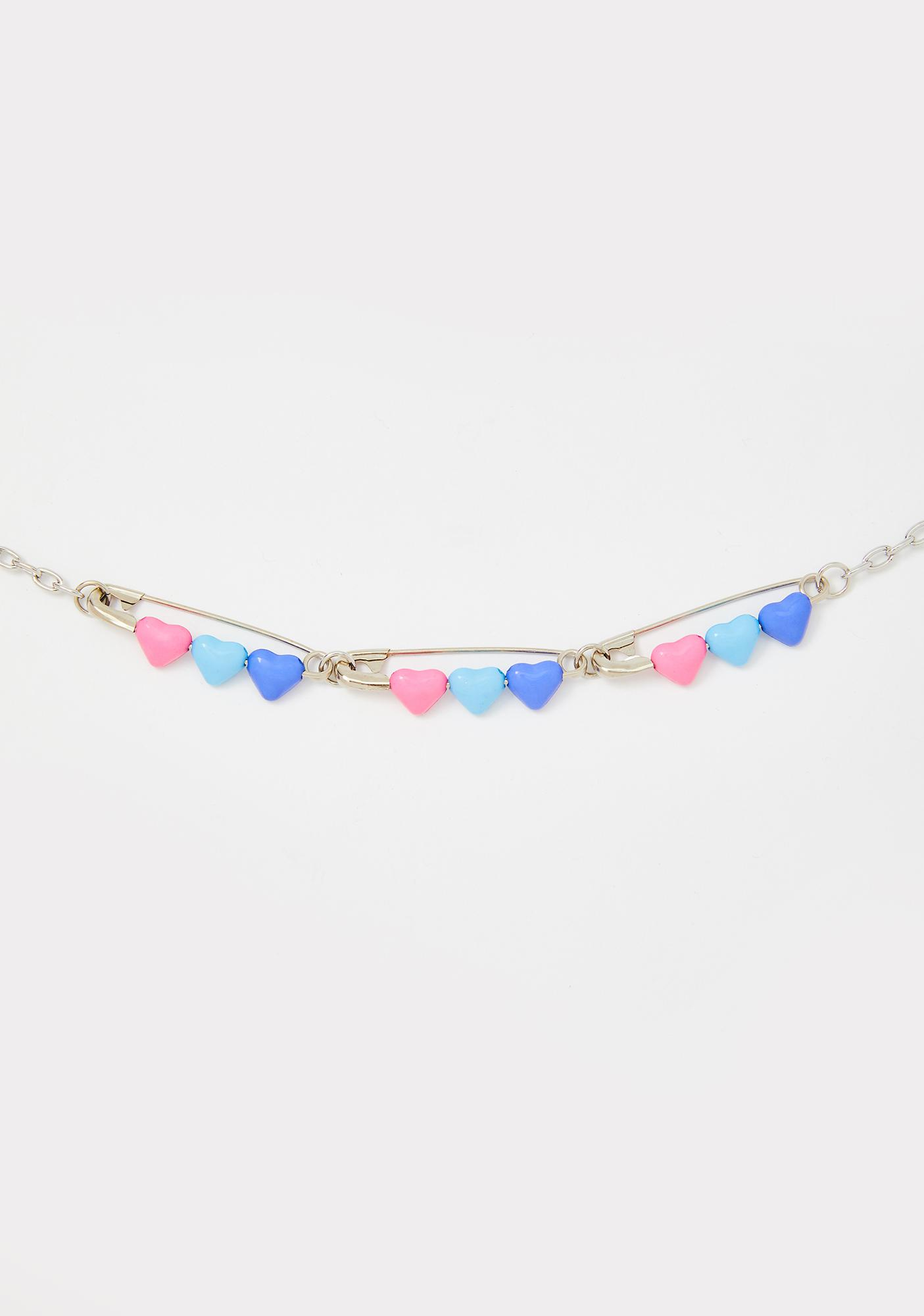 Luv Of Mine Safety Pin Necklace