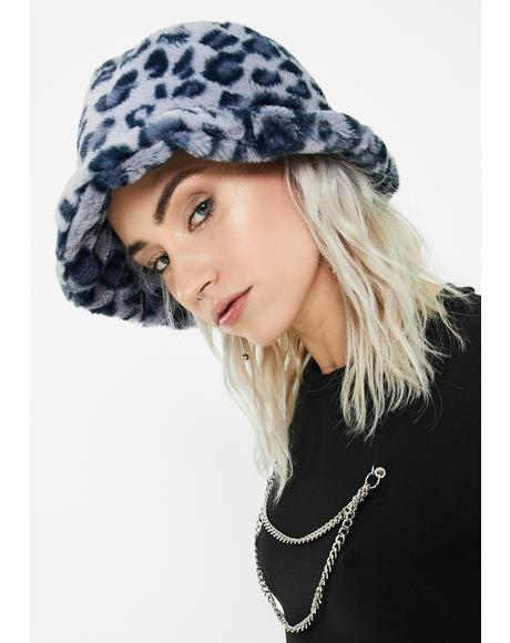 Blue Leopard Fluffy Bucket Hat