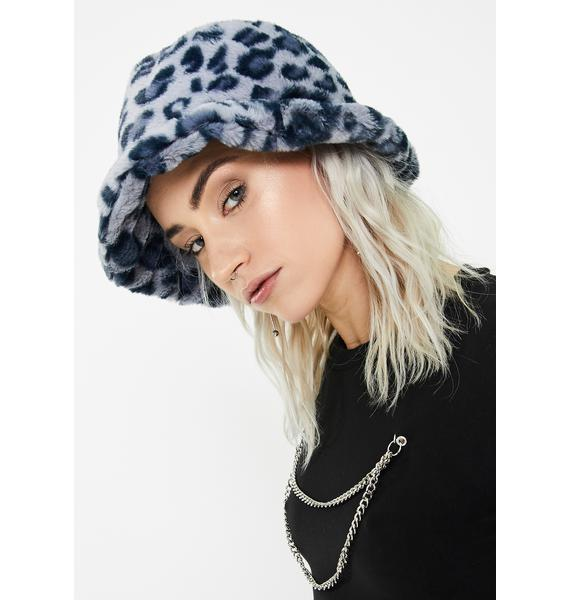 Glitter Disco Child Blue Leopard Fluffy Bucket Hat