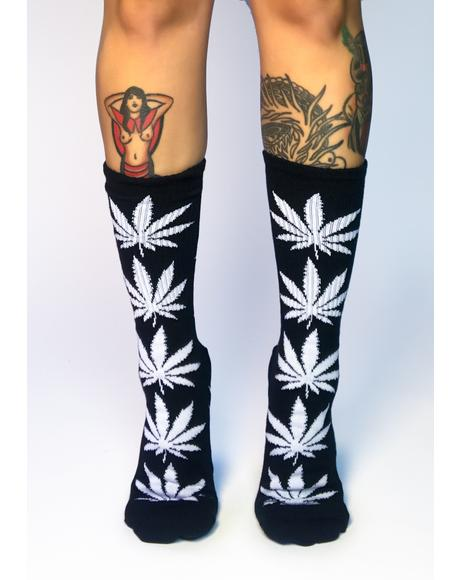 Black Plantlife Crew Socks