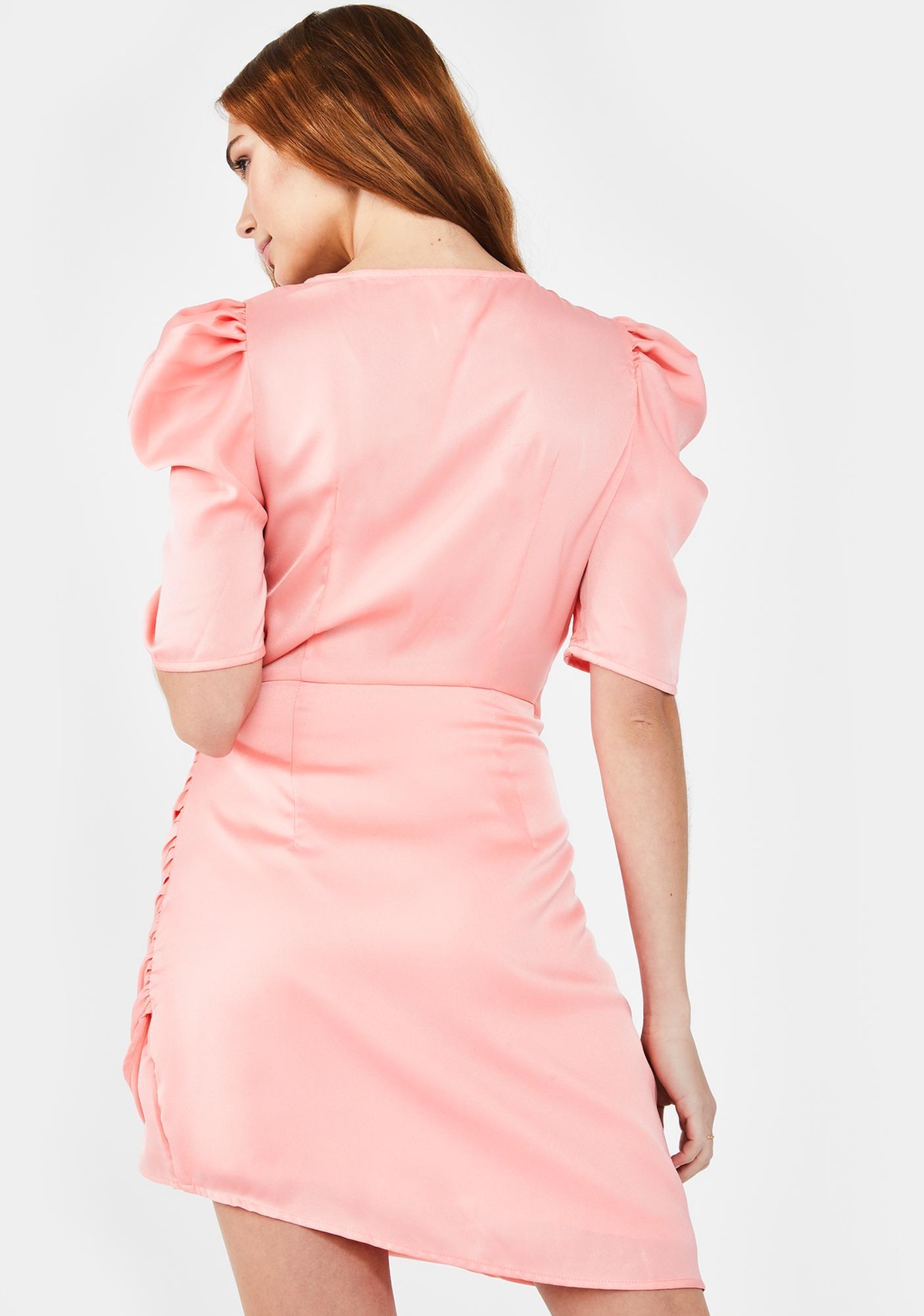 Glamorous Peach Satin Wrap Dress
