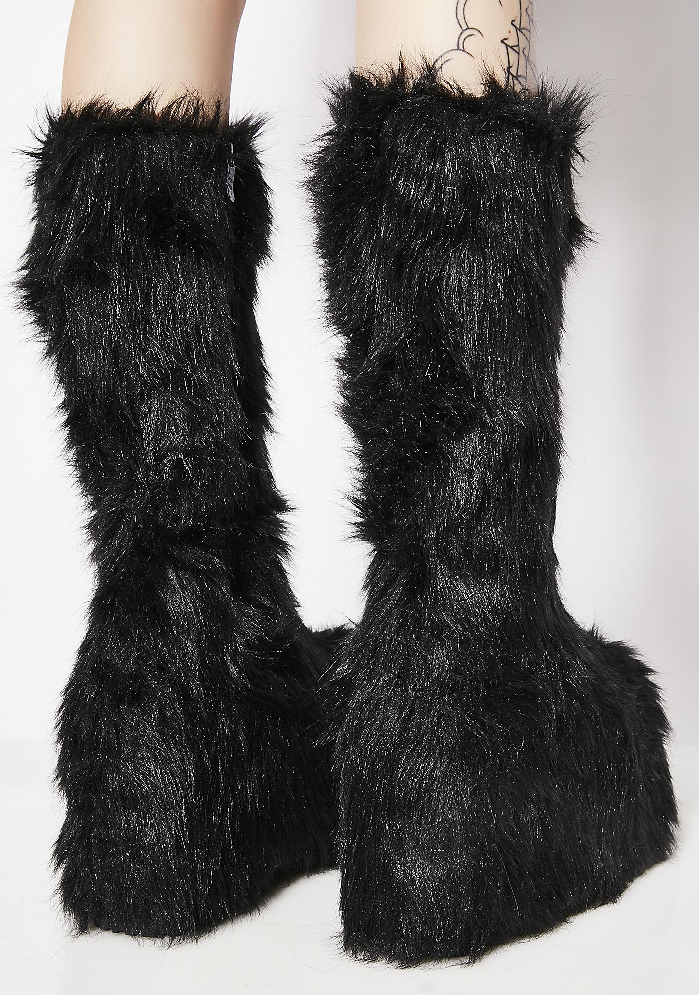 Party Monster Fuzzy Platform Boots