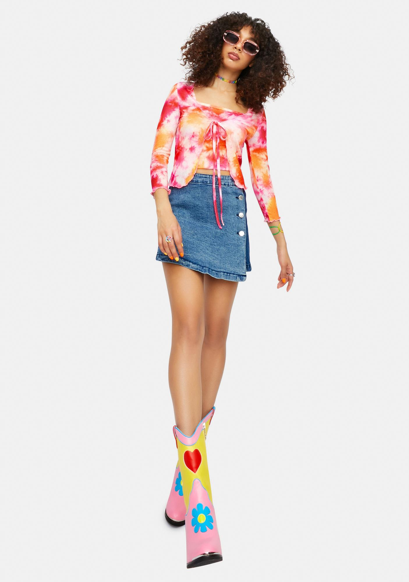 dELiA*s by Dolls Kill Psychedelia's Tie Dye Cropped Cardigan Set