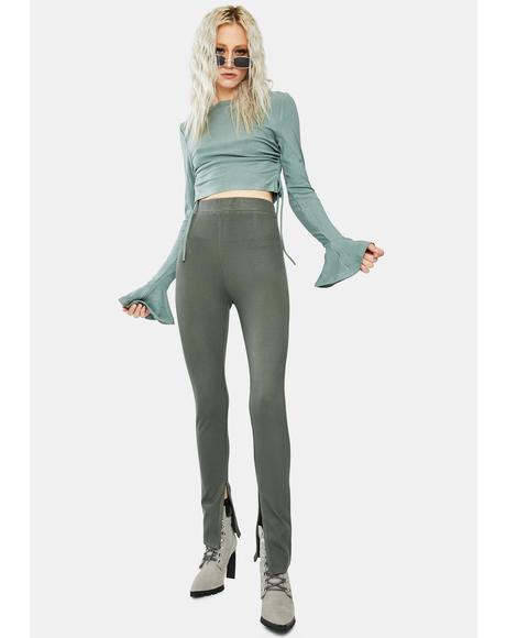Olive Bottom Slit Comfy Pants
