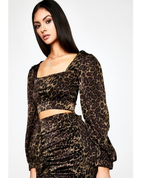 Olive Above The Claw Leopard Crop Top