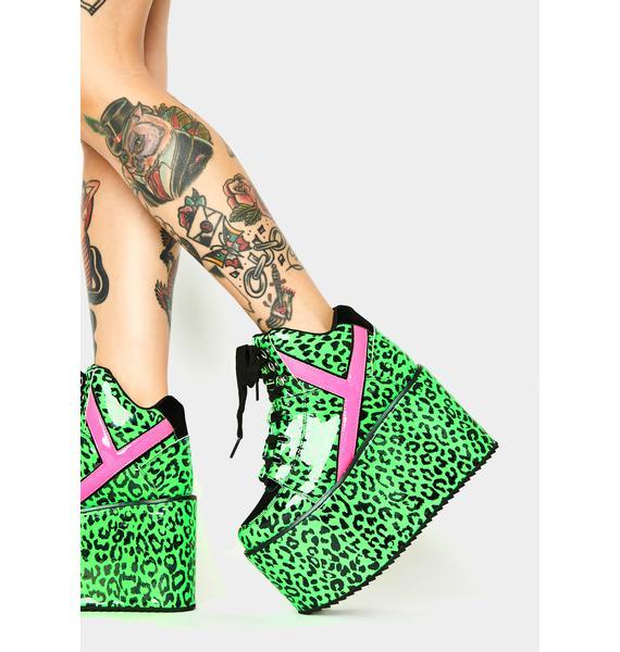 Y.R.U. Qozmo Neon Leopard Platform Sneakers