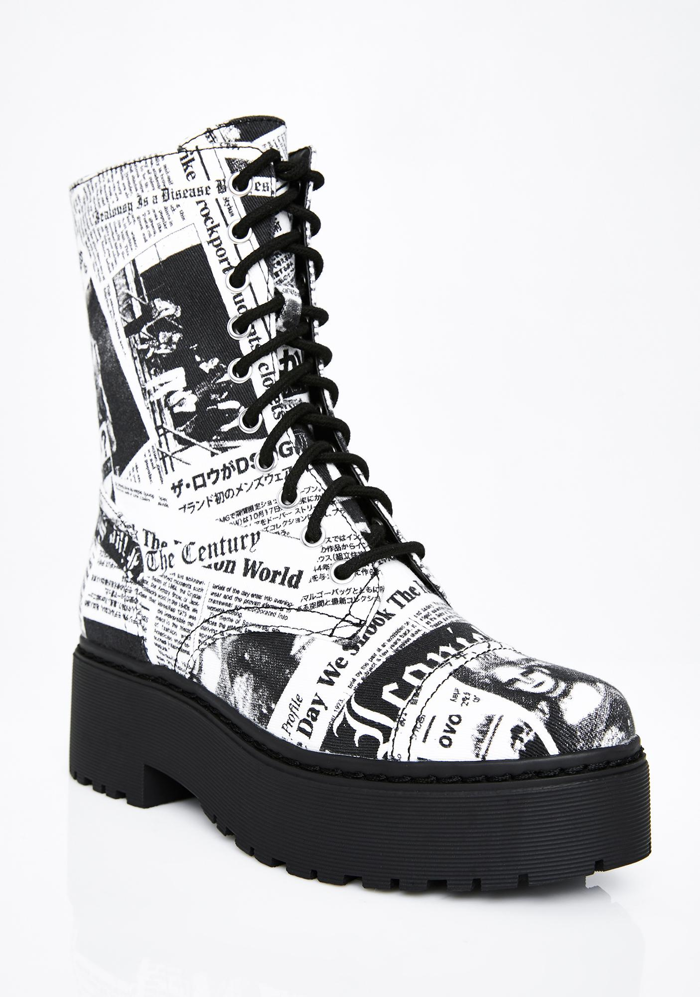Current Mood Breaking News Combat Boots