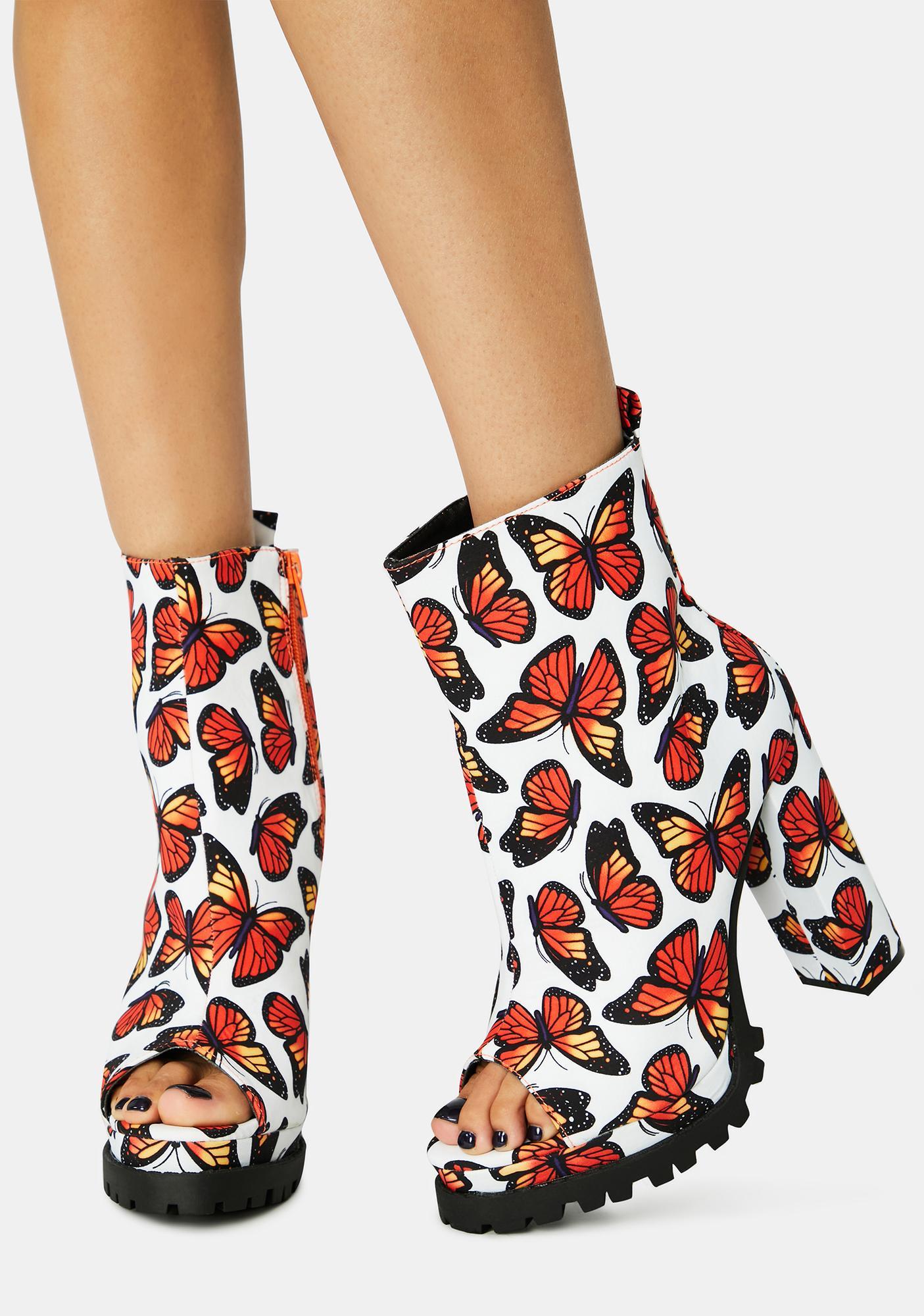 Burst Butterfly Downtown Dive Peep Toe Heels