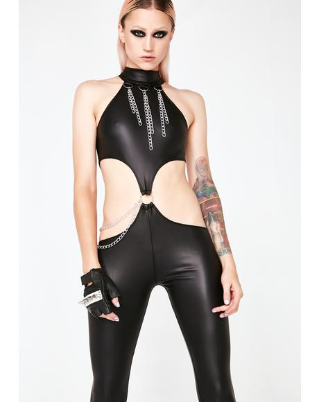 Nocturnal Seductress Chain Catsuit