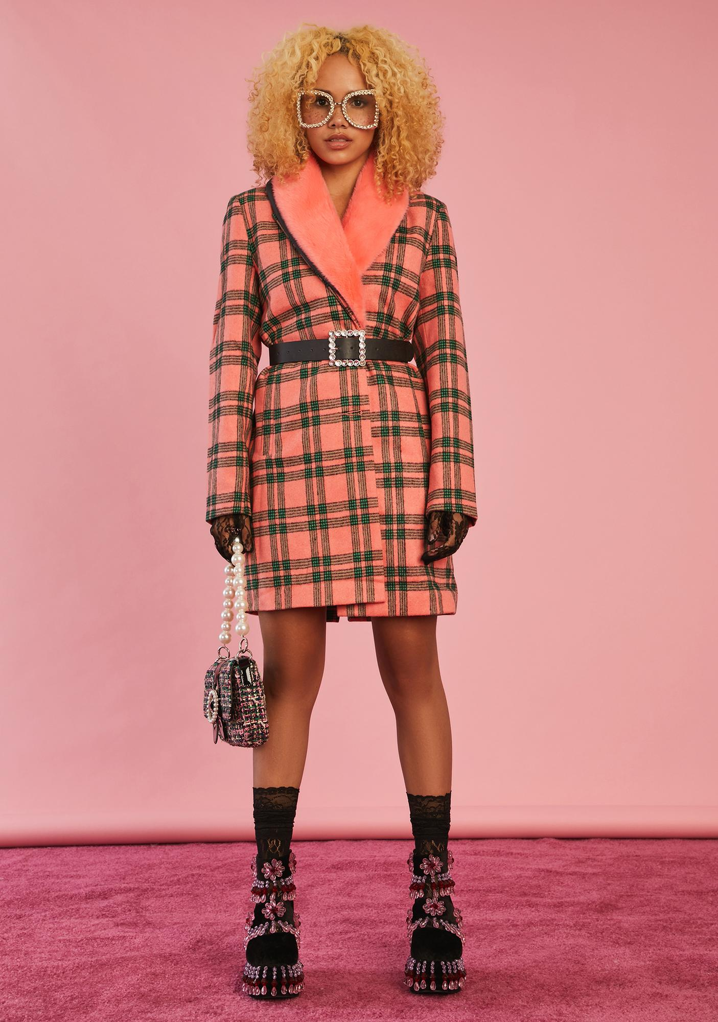 Sugar Thrillz Antique Angel Plaid Peacoat