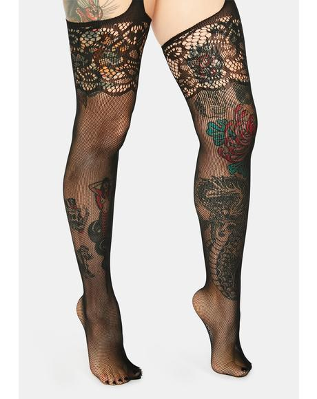 Lost In Twilight Brocade Garter Stockings