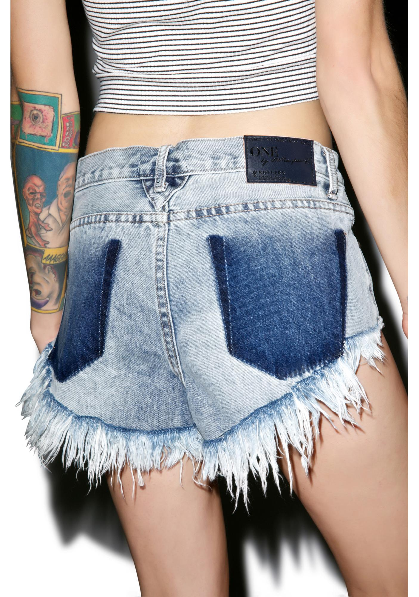 One Teaspoon Bleu Blossom Roller Shorts