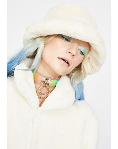 Icy Heaven Faux Fur Bucket Hat