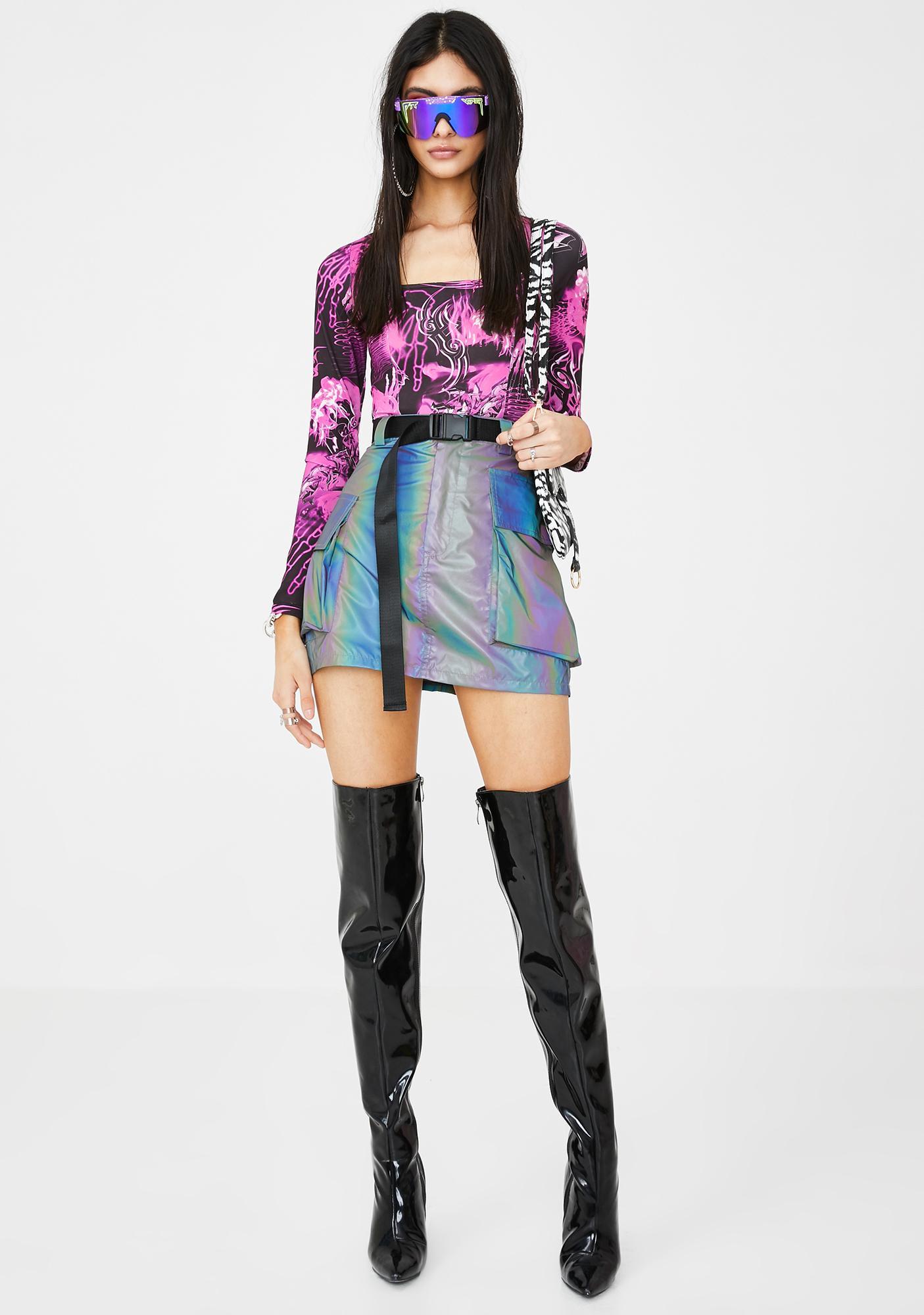 Jaded London Pink Skull Print Long Sleeve Bodysuit