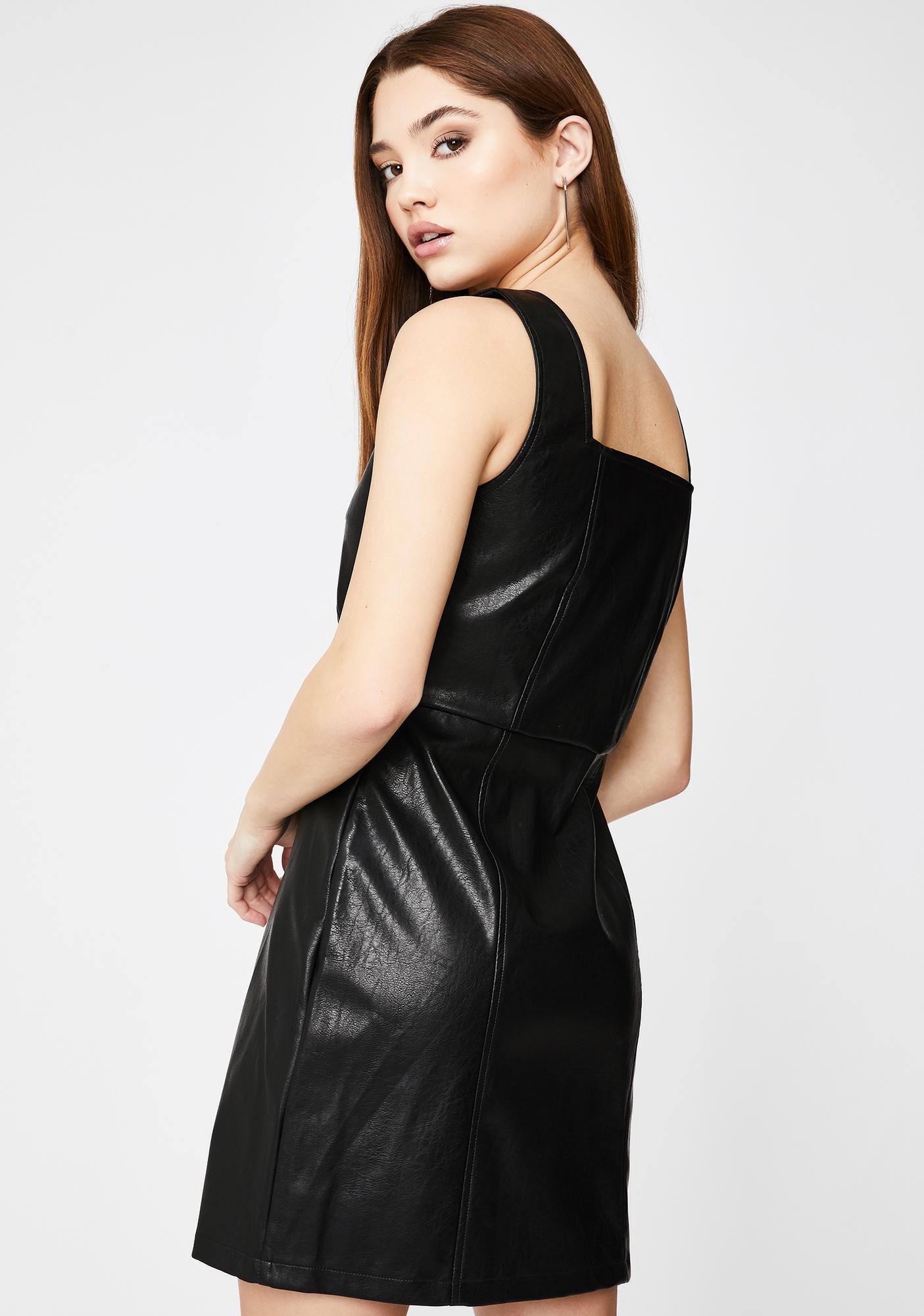 Glamorous Vegan Leather Button Down Pinafore