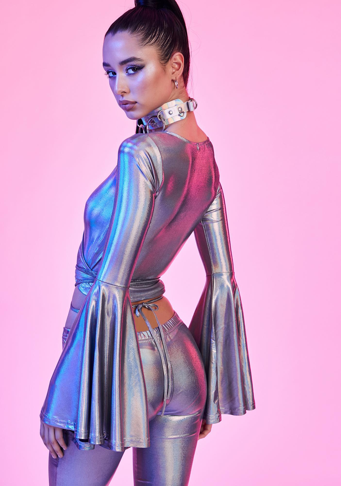 Current Mood Disco Dreams Holographic Wrap Top