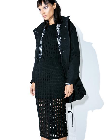 Laser Cut Midi Dress