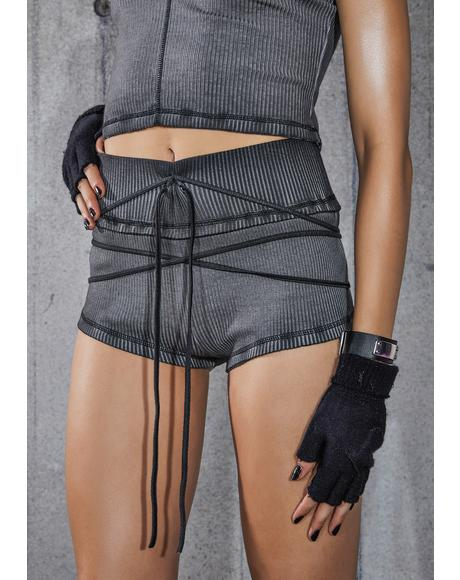 Snare Washed Black Ribbed Shorts With Wrap Straps